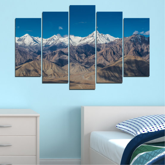 Canvas prints & wall decorative panels - 5 pieces №0034 » Blue, Brown, Gray, Dark grey » Nature, Landscape, Mountain, Sky, Snow Form #1
