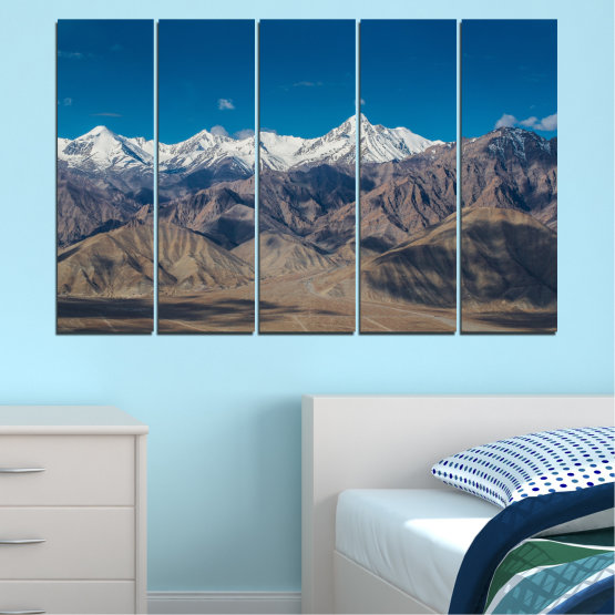 Canvas prints & wall decorative panels - 5 pieces №0034 » Blue, Brown, Gray, Dark grey » Nature, Landscape, Mountain, Sky, Snow Form #2