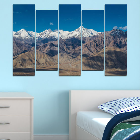 Canvas prints & wall decorative panels - 5 pieces №0034 » Blue, Brown, Gray, Dark grey » Nature, Landscape, Mountain, Sky, Snow Form #3