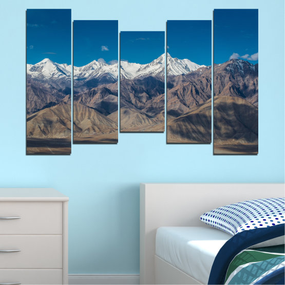 Canvas prints & wall decorative panels - 5 pieces №0034 » Blue, Brown, Gray, Dark grey » Nature, Landscape, Mountain, Sky, Snow Form #4