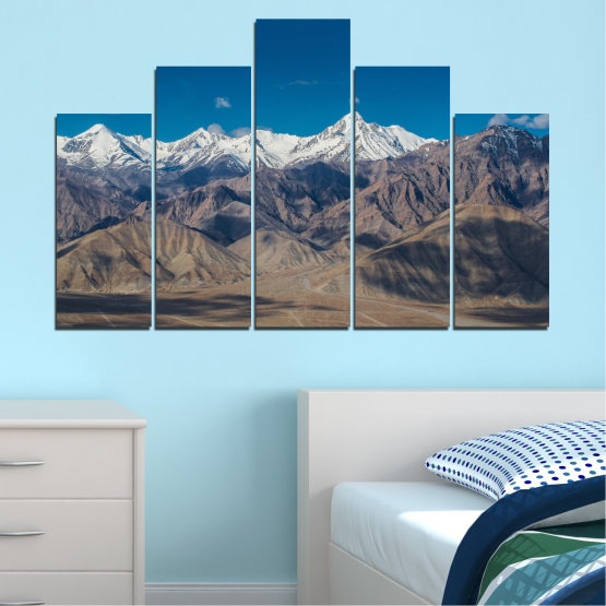 Canvas prints & wall decorative panels - 5 pieces №0034 » Blue, Brown, Gray, Dark grey » Nature, Landscape, Mountain, Sky, Snow Form #5