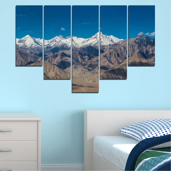 Canvas prints & wall decorative panels - 5 pieces №0034 » Blue, Brown, Gray, Dark grey » Nature, Landscape, Mountain, Sky, Snow Form #6