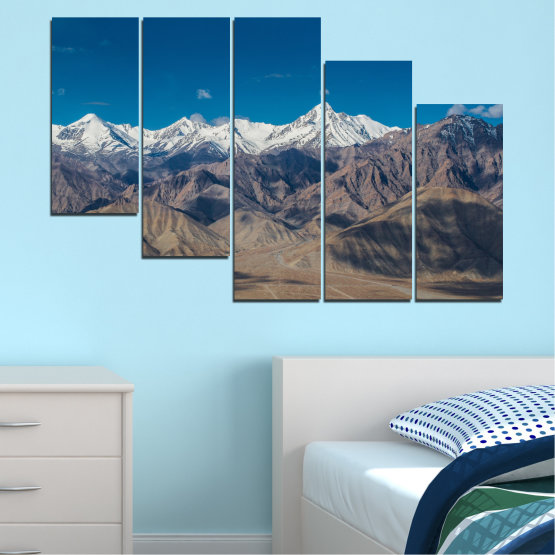 Canvas prints & wall decorative panels - 5 pieces №0034 » Blue, Brown, Gray, Dark grey » Nature, Landscape, Mountain, Sky, Snow Form #7