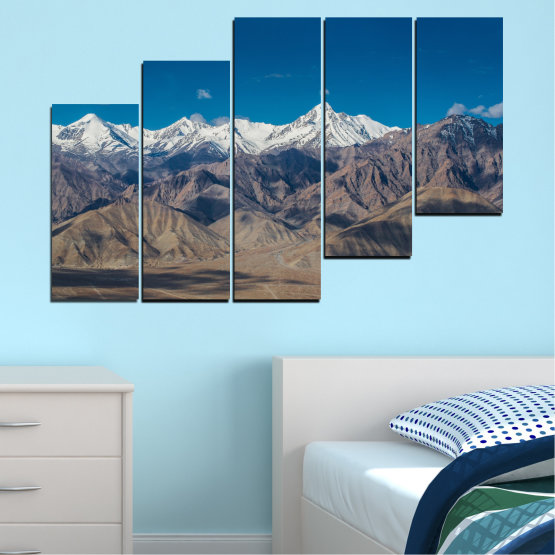 Canvas prints & wall decorative panels - 5 pieces №0034 » Blue, Brown, Gray, Dark grey » Nature, Landscape, Mountain, Sky, Snow Form #8