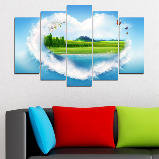 Canvas prints & wall decorative panels - 5 pieces №0340 » Blue, Turquoise, Gray, White » Landscape, Nature, Collage, Meadow, Heart, Field Form #1