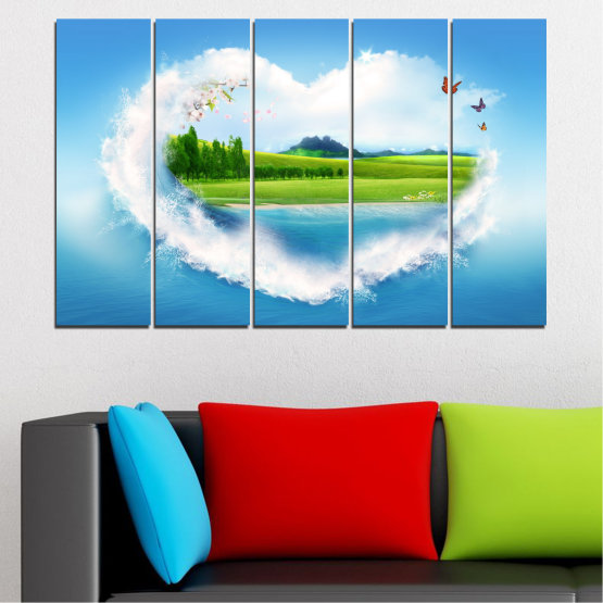 Canvas prints & wall decorative panels - 5 pieces №0340 » Blue, Turquoise, Gray, White » Landscape, Nature, Collage, Meadow, Heart, Field Form #2