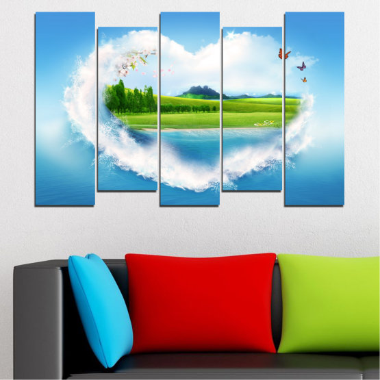 Canvas prints & wall decorative panels - 5 pieces №0340 » Blue, Turquoise, Gray, White » Landscape, Nature, Collage, Meadow, Heart, Field Form #3