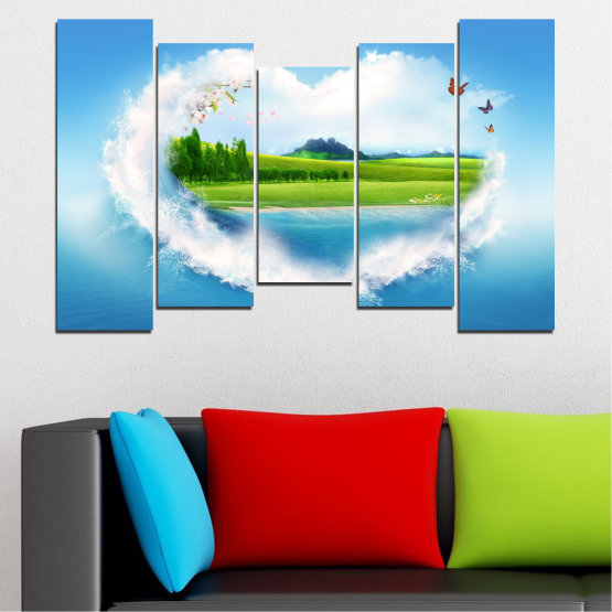 Canvas prints & wall decorative panels - 5 pieces №0340 » Blue, Turquoise, Gray, White » Landscape, Nature, Collage, Meadow, Heart, Field Form #4