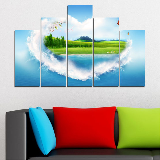 Canvas prints & wall decorative panels - 5 pieces №0340 » Blue, Turquoise, Gray, White » Landscape, Nature, Collage, Meadow, Heart, Field Form #5