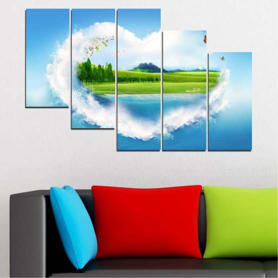 Canvas prints & wall decorative panels - 5 pieces №0340 » Blue, Turquoise, Gray, White » Nature, Landscape, Collage, Meadow, Heart, Field Form #7