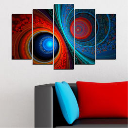 Abstraction, Manga, Sphere » Red, Blue, Black, Dark grey