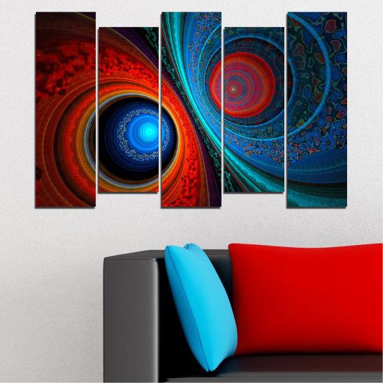 Декоративни панели и картини от канава - от 5 части №0342 » Червен, Син, Черен, Тъмно сив » Абстракция, Манга, Сфера Form #3