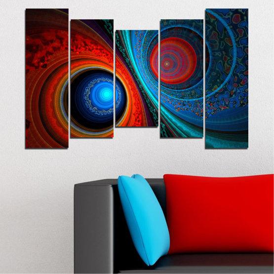 Декоративни панели и картини от канава - от 5 части №0342 » Червен, Син, Черен, Тъмно сив » Абстракция, Манга, Сфера Form #4