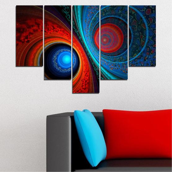 Декоративни панели и картини от канава - от 5 части №0342 » Червен, Син, Черен, Тъмно сив » Абстракция, Манга, Сфера Form #6