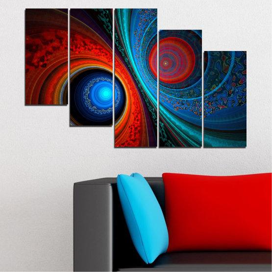 Декоративни панели и картини от канава - от 5 части №0342 » Червен, Син, Черен, Тъмно сив » Абстракция, Манга, Сфера Form #7