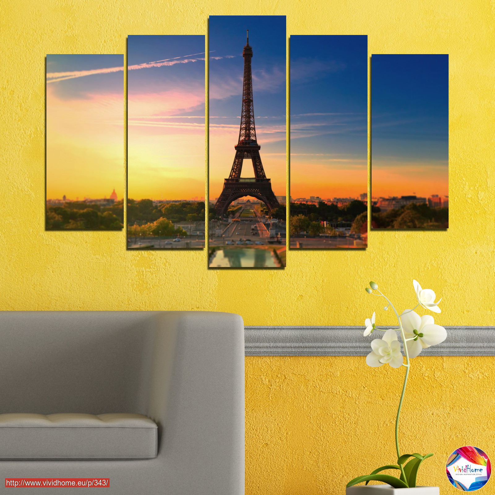 Sunset, Sky, Eiffel tower, Paris, France №0343