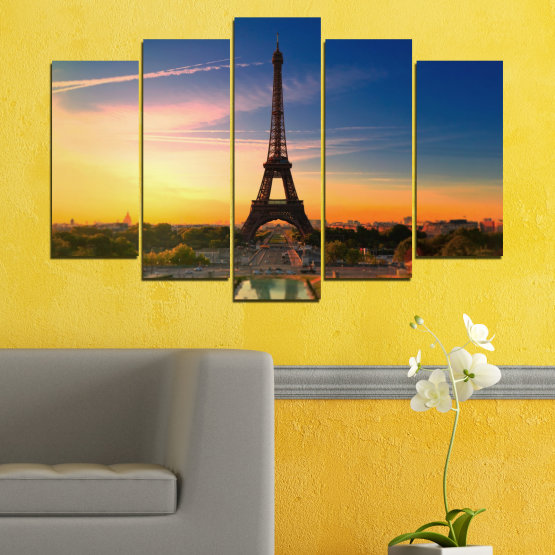Canvas prints & wall decorative panels - 5 pieces №0343 » Blue, Brown, Gray, Beige, Dark grey » Sunset, Sky, Eiffel tower, Paris, France Form #1