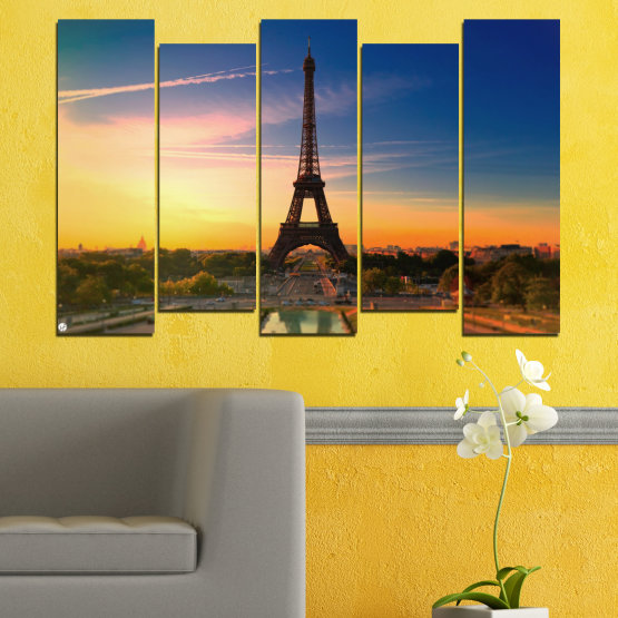 Canvas prints & wall decorative panels - 5 pieces №0343 » Blue, Brown, Gray, Beige, Dark grey » Sunset, Sky, Eiffel tower, Paris, France Form #3