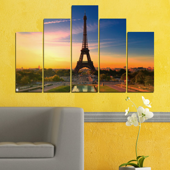 Canvas prints & wall decorative panels - 5 pieces №0343 » Blue, Brown, Gray, Beige, Dark grey » Sunset, Sky, Eiffel tower, Paris, France Form #5
