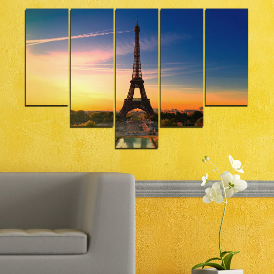 Canvas prints & wall decorative panels - 5 pieces №0343 » Blue, Brown, Gray, Beige, Dark grey » Sunset, Sky, Eiffel tower, Paris, France Form #6