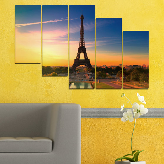 Canvas prints & wall decorative panels - 5 pieces №0343 » Blue, Brown, Gray, Beige, Dark grey » Sunset, Sky, Eiffel tower, Paris, France Form #7