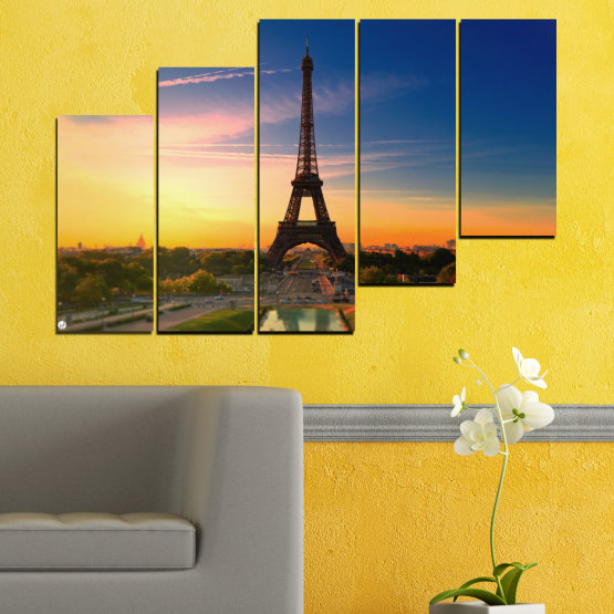 Canvas prints & wall decorative panels - 5 pieces №0343 » Blue, Brown, Gray, Beige, Dark grey » Sunset, Sky, Eiffel tower, Paris, France Form #8