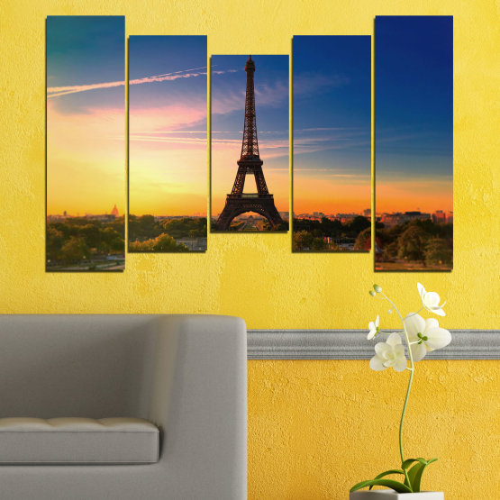 Canvas prints & wall decorative panels - 5 pieces №0343 » Blue, Brown, Gray, Beige, Dark grey » Sunset, Sky, Eiffel tower, Paris, France Form #4