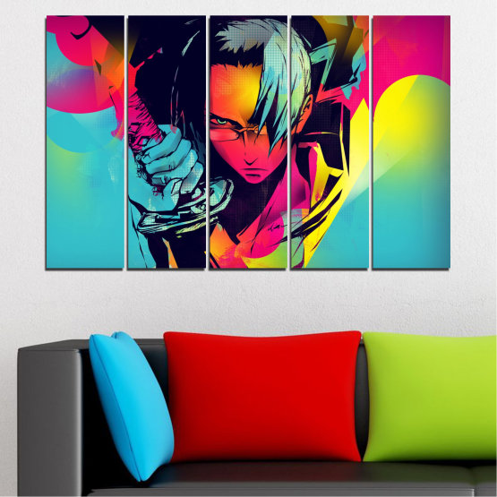 Canvas prints & wall decorative panels - 5 pieces №0344 » Red, Pink, Turquoise, Black, Gray » Children, Colorful, Manga, Sword Form #2