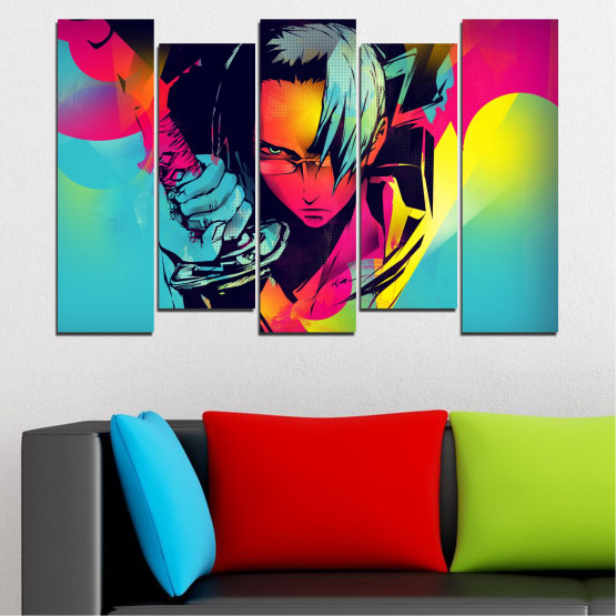 Canvas prints & wall decorative panels - 5 pieces №0344 » Red, Pink, Turquoise, Black, Gray » Children, Colorful, Manga, Sword Form #3