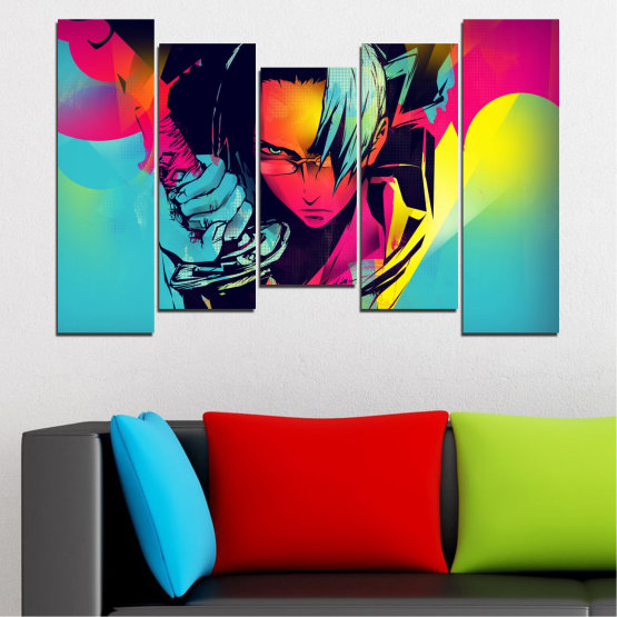 Canvas prints & wall decorative panels - 5 pieces №0344 » Red, Pink, Turquoise, Black, Gray » Children, Colorful, Manga, Sword Form #4