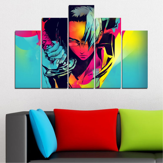 Canvas prints & wall decorative panels - 5 pieces №0344 » Red, Pink, Turquoise, Black, Gray » Children, Colorful, Manga, Sword Form #5