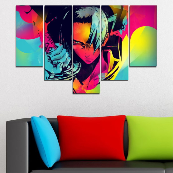 Canvas prints & wall decorative panels - 5 pieces №0344 » Red, Pink, Turquoise, Black, Gray » Children, Colorful, Manga, Sword Form #6