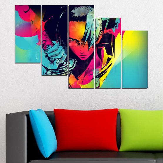 Canvas prints & wall decorative panels - 5 pieces №0344 » Red, Pink, Turquoise, Black, Gray » Children, Colorful, Manga, Sword Form #7
