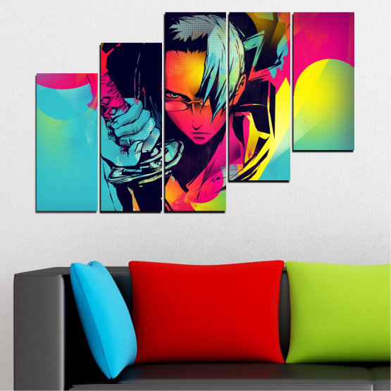 Canvas prints & wall decorative panels - 5 pieces №0344 » Red, Pink, Turquoise, Black, Gray » Children, Colorful, Manga, Sword Form #8