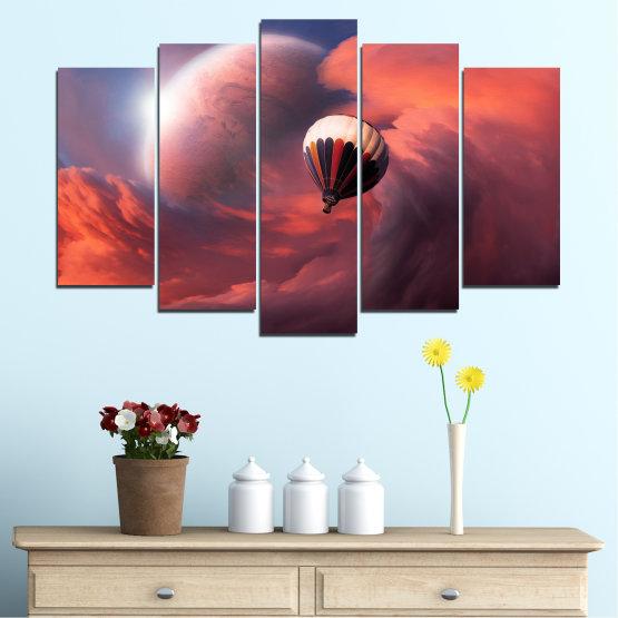 Εκτύπωση σε καμβά και διακοσμητικά πάνελ τοίχου - 5 τεμάχια №0345 » Ροζ, Πορτοκάλι, Καστανός, Γκρί, Σκούρο γκρι » Κολάζ, Ουρανός, Σύννεφο, Μπαλόνι Form #1