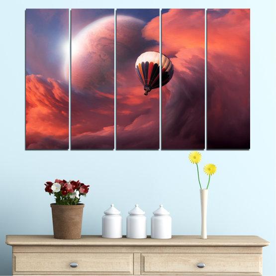 Εκτύπωση σε καμβά και διακοσμητικά πάνελ τοίχου - 5 τεμάχια №0345 » Ροζ, Πορτοκάλι, Καστανός, Γκρί, Σκούρο γκρι » Κολάζ, Ουρανός, Σύννεφο, Μπαλόνι Form #2