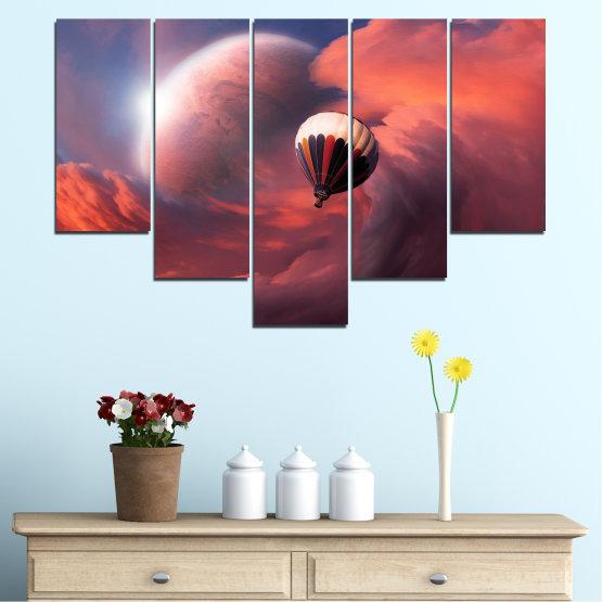 Εκτύπωση σε καμβά και διακοσμητικά πάνελ τοίχου - 5 τεμάχια №0345 » Ροζ, Πορτοκάλι, Καστανός, Γκρί, Σκούρο γκρι » Κολάζ, Ουρανός, Σύννεφο, Μπαλόνι Form #6