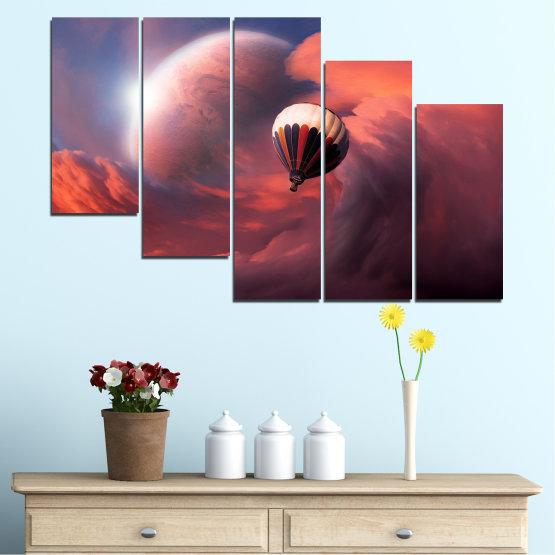 Εκτύπωση σε καμβά και διακοσμητικά πάνελ τοίχου - 5 τεμάχια №0345 » Ροζ, Πορτοκάλι, Καστανός, Γκρί, Σκούρο γκρι » Κολάζ, Ουρανός, Σύννεφο, Μπαλόνι Form #7