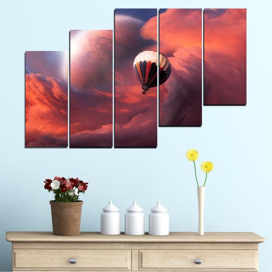 Εκτύπωση σε καμβά και διακοσμητικά πάνελ τοίχου - 5 τεμάχια №0345 » Ροζ, Πορτοκάλι, Καστανός, Γκρί, Σκούρο γκρι » Κολάζ, Ουρανός, Σύννεφο, Μπαλόνι Form #8