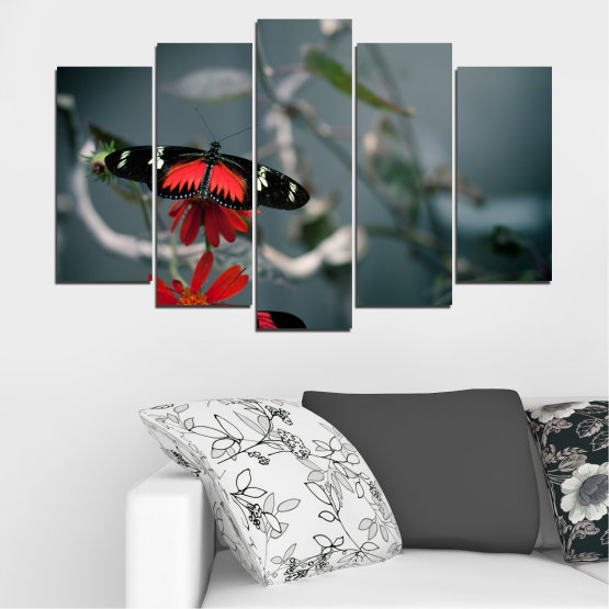 Canvas prints & wall decorative panels - 5 pieces №0346 » Red, Black, Gray, Dark grey » Animal, Water, Butterfly, Reflection Form #1