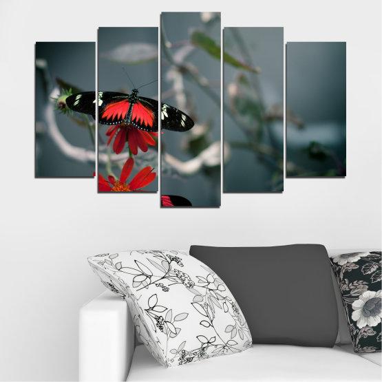 Декоративни панели и картини от канава - от 5 части №0346 » Червен, Черен, Сив, Тъмно сив » Животни, Вода, Пеперуда, Отражение Form #1