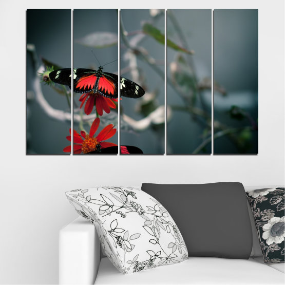 Декоративни панели и картини от канава - от 5 части №0346 » Червен, Черен, Сив, Тъмно сив » Животни, Вода, Пеперуда, Отражение Form #2