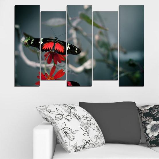 Декоративни панели и картини от канава - от 5 части №0346 » Червен, Черен, Сив, Тъмно сив » Животни, Вода, Пеперуда, Отражение Form #3