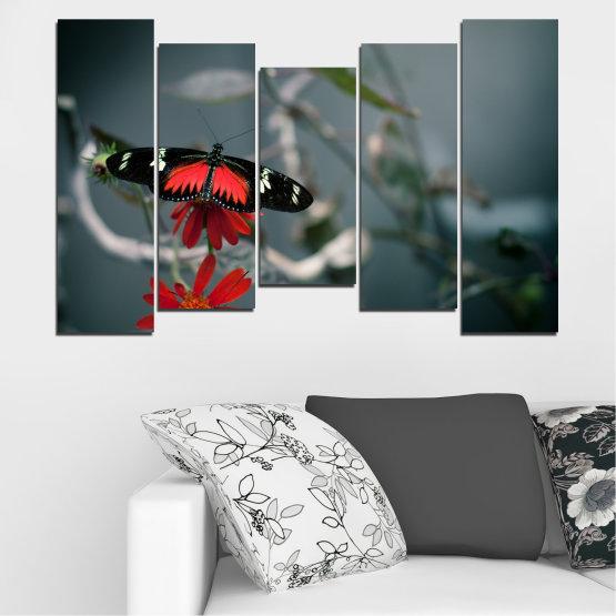 Декоративни панели и картини от канава - от 5 части №0346 » Червен, Черен, Сив, Тъмно сив » Животни, Вода, Пеперуда, Отражение Form #4