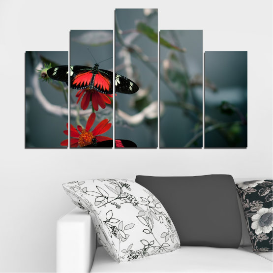 Canvas prints & wall decorative panels - 5 pieces №0346 » Red, Black, Gray, Dark grey » Animal, Water, Butterfly, Reflection Form #5