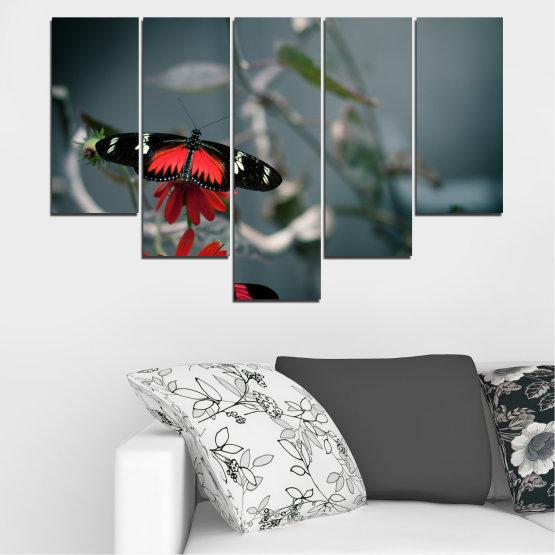 Декоративни панели и картини от канава - от 5 части №0346 » Червен, Черен, Сив, Тъмно сив » Животни, Вода, Пеперуда, Отражение Form #6