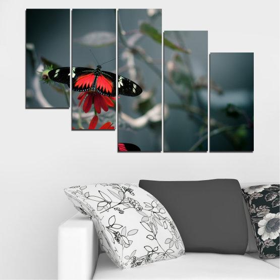 Декоративни панели и картини от канава - от 5 части №0346 » Червен, Черен, Сив, Тъмно сив » Животни, Вода, Пеперуда, Отражение Form #7