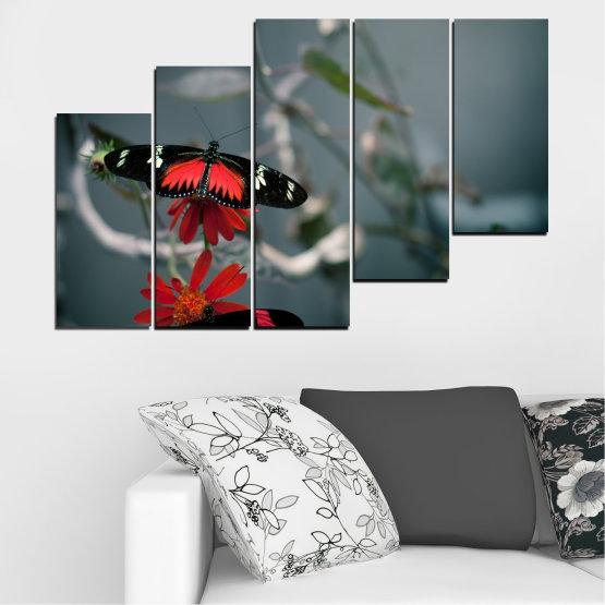 Декоративни панели и картини от канава - от 5 части №0346 » Червен, Черен, Сив, Тъмно сив » Животни, Вода, Пеперуда, Отражение Form #8