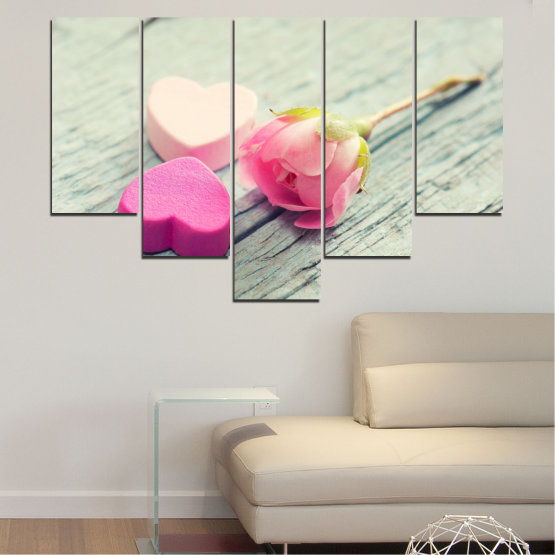 Canvas prints & wall decorative panels - 5 pieces №0347 » Pink, Gray, Beige, Milky pink » Flowers, Rose, Heart Form #6