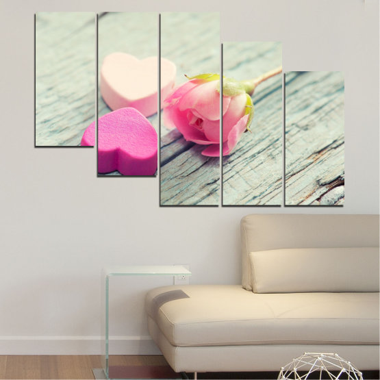 Canvas prints & wall decorative panels - 5 pieces №0347 » Pink, Gray, Beige, Milky pink » Flowers, Rose, Heart Form #7